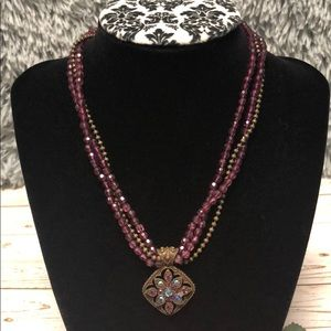 Jewelry - Gorgeous vintage purple and antique gold necklace